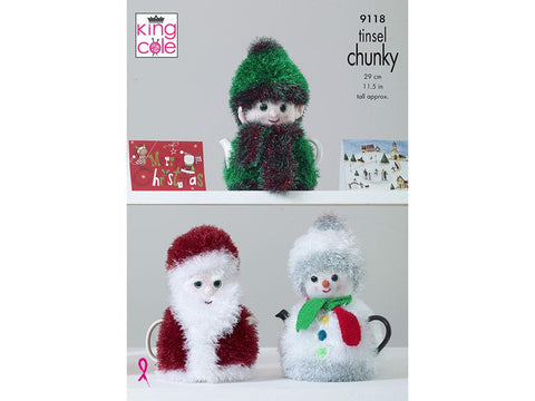 Christmas Tea Cosies in King Cole Tinsel Chunky (9118)