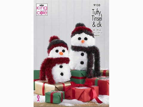 Tufty & Tinsel Snowmen in King Cole Tufty Super Chunky, Tinsel Chunky & Dollymix DK (9133K)