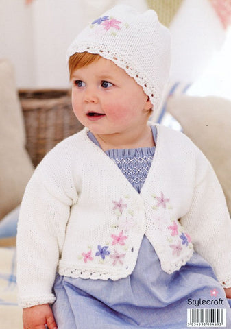 Embroidered Cardigan & Hat in Stylecraft Lullaby DK (9172)