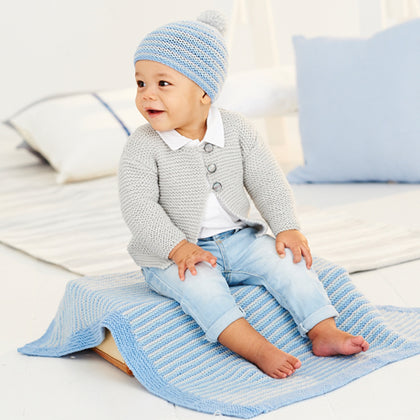 Babies Cardigan, Hat & Blanket in Stylecraft Bambino (9530)