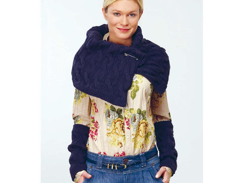 Stole & Wrist Warmers in Rico Design Essentials Soft Merino Aran (RD104) Knitting kit and Pattern