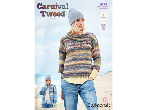 Cardigan and Sweater in Stylecraft Carnival Tweed Chunky (9714)
