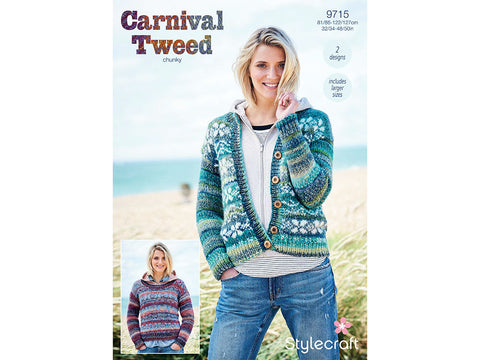 Sweater and Cardigan in Stylecraft Carnival Tweed Chunky (9715)