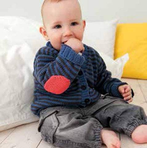 Striped Cardigan or Jumper with Elbow Patches in Rico Baby Cotton Soft DK (172) - Digital Version