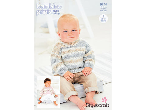 Jumper and Cardigan in Stylecraft Bambino Prints DK (9744)