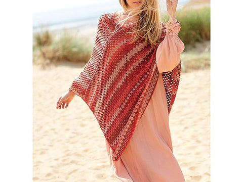 Sweater and Poncho Crochet Kit and Pattern in Rico Design Yarn (877)