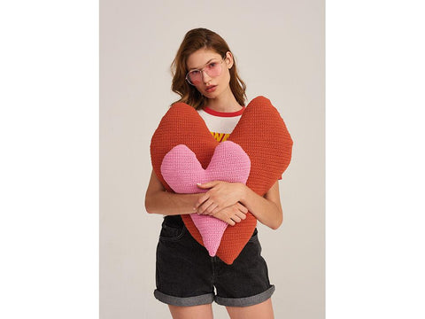 Heart Cushions Crochet Kit and Pattern in Rico Design Yarn (906)