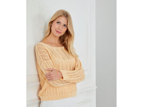 Arrow Lace Pullover in Schachenmayr Peach Cotton (S10456)