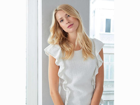 Ruffle Top in Schachenmayr Peach Cotton (S10460)