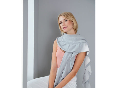 Scarf with Ruffled Edge in Schachenmayr Peach Cotton (S10465)