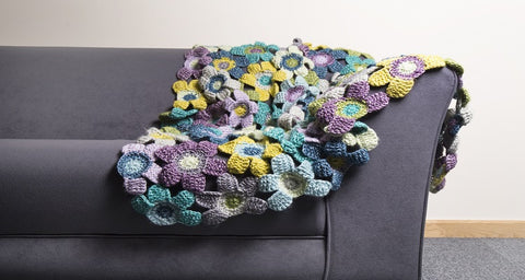 Tunisian Flower Blanket Crochet Kit in Scheepjes Yarn