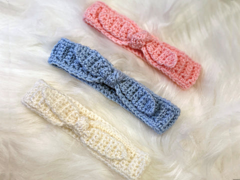 Baby Tie Headbands Crochet Kit and Pattern in Deramores Yarn