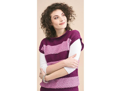 Let's Knit Blackberry Stitch Top in King Cole Luxury Merino DK