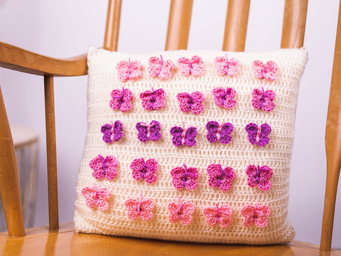 Butterfly Cushion Crochet Kit and Pattern in Deramores Yarn