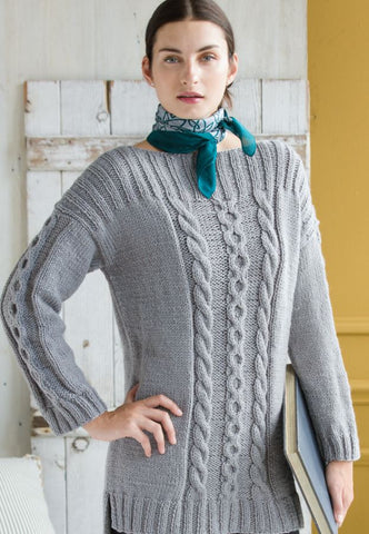 Cabled Jumper in Deramores Vintage Chunky by Yoko Hatta