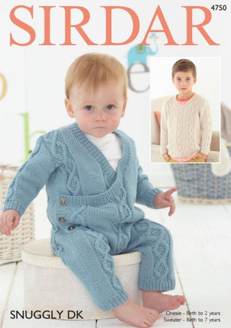 Baby Boy's Onesie and Boy's V Neck Sweater in Sirdar Snuggly DK (4750P) - Digital Version