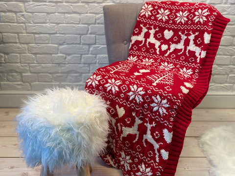 Traditional Fairisle Christmas Blanket Knit Along in Deramores Yarn