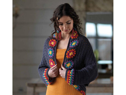 Colour Me Happy Granny Square Shrug Crochet Kit and Pattern in West Yorkshire Spinners Yarn