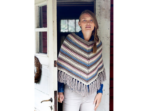 Crocheted Poncho Crochet Kit and Pattern in Novita Yarn