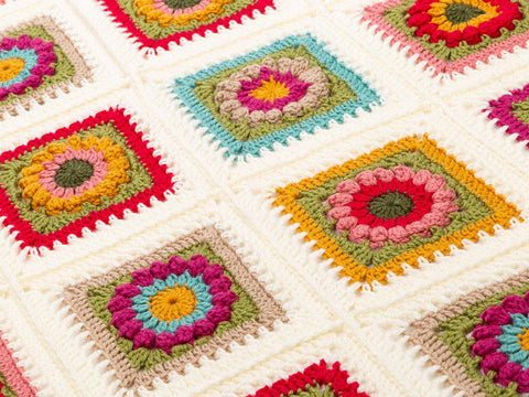 Flower Square Blanket Crochet Kit and Pattern
