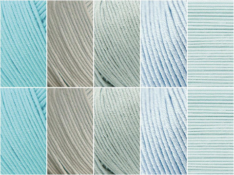 Duck Egg Colour Pack in Rico Design Essentials Cotton DK