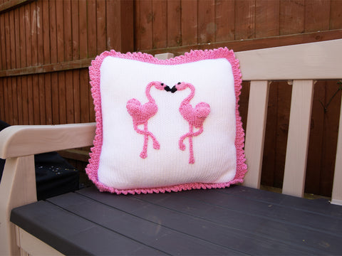 Flamingo Cushion Knitting Kit and Pattern in Deramores Yarn