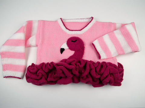 Flamingo Frills Sweater Knitting Kit and Pattern