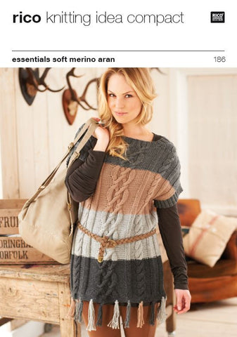 Fringed Sweater in Rico Essentials Soft Merino Aran - 186
