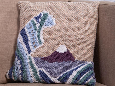 Great Wave Cushion Crochet Kit and Pattern in Scheepjes Yarn