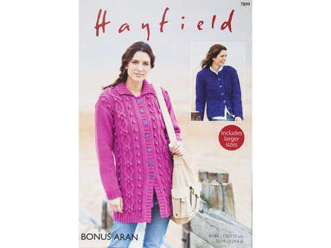 Long Jacket and Cardigan in Hayfield Bonus Aran (7899)