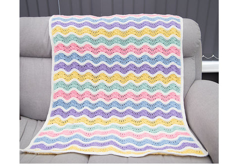 Ice Cream Ripple Blanket Knitting Kit and Pattern in Deramores Yarn