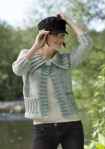Ladies Jacket in James C. Brett Rustic with Wool Aran (JB043)