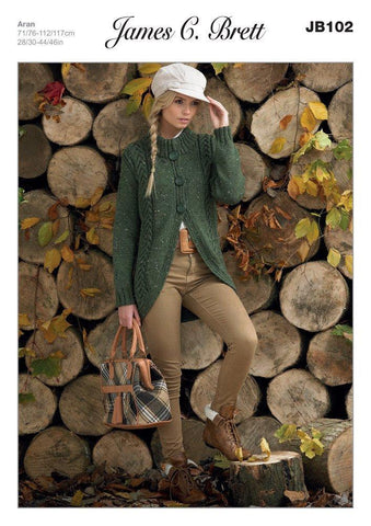 Ladies Cardigan in James C. Brett Rustic with Wool Aran (JB102)