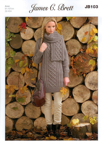 Cable Long Sweater and Scarf in James C. Brett Rustic with Wool Aran (JB103)