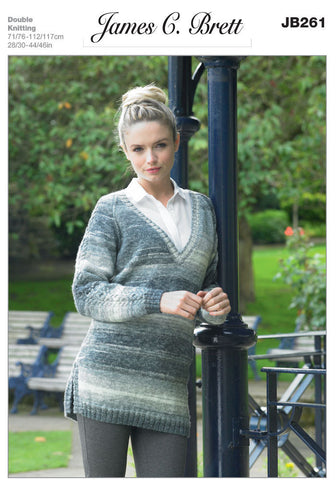 Ladies V-Neck Sweater in James C. Brett Woodlander DK (JB261)