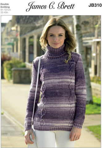 Ladies Roll Neck Sweater in James C. Brett Woodlander DK (JB310)