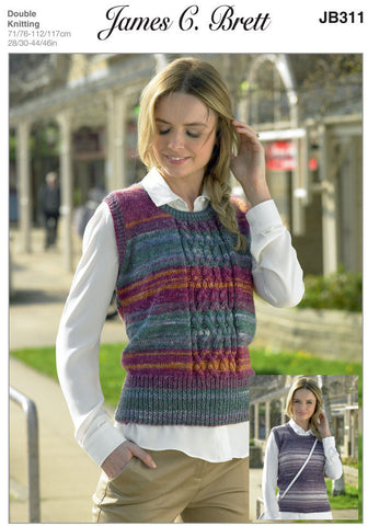 Ladies Sleeveless Sweater in James C. Brett Woodlander DK (JB311)