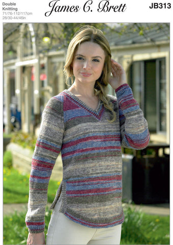 Ladies V-Neck Sweater in James C. Brett Woodlander DK (JB313)