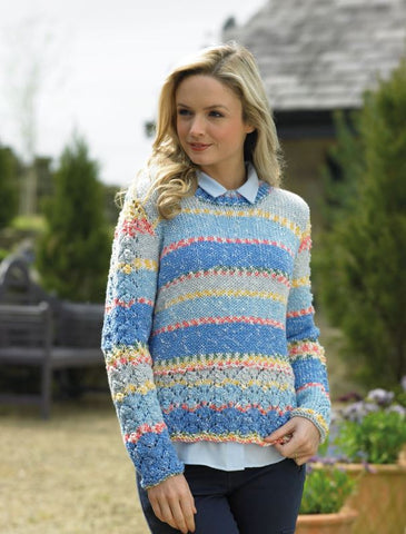 Ladies crew neck jumper in James C Brett Harmony Chunky.