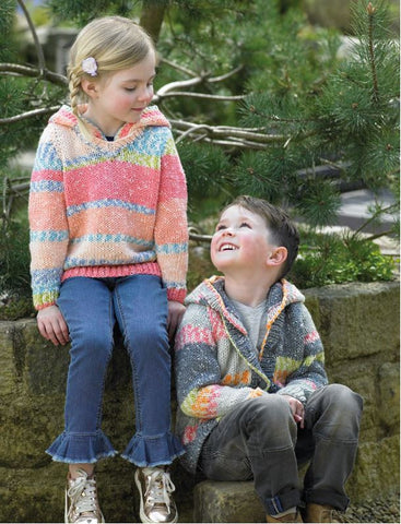 Childrens Hooded Sweater and Cardigan in James C. Brett Harmony Chunky (JB451)