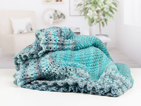 Lace Border Blanket and Cushion in James C. Brett Marble Chunky (5057)- Knitting Kit and Pattern