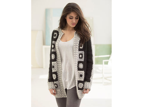 Graphic Statement Cardigan Crochet Kit and Pattern in Lion Brand Yarn (L50263)