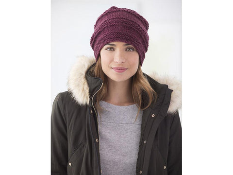 Simple Texture Slouch Hat in Lion Brand Heartland (L60325)