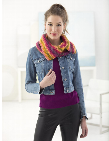 Woven Stitch Cowl Crochet Kit and Pattern in Lion Brand Yarn (L70098)