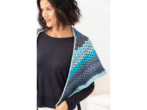 Elle Shawl Crochet Kit and Pattern in Lion Brand Yarn (L80222)