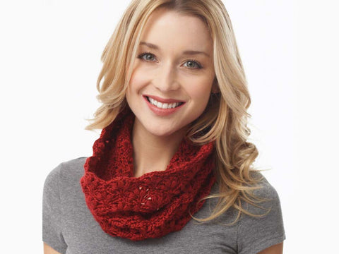 Lacy Cluster Cowl Crochet Kit and Pattern in Caron Yarn