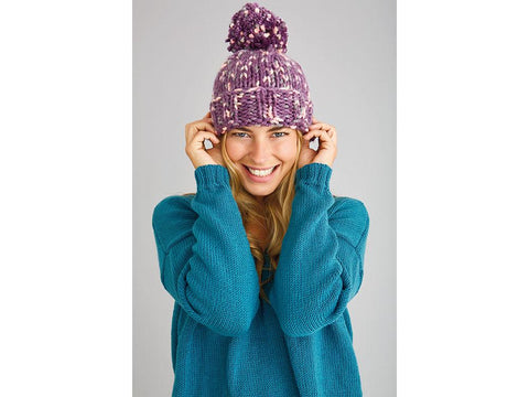 Lizzie Bobble Hat in Patons Fab Big Colour