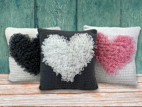 Loop Stitch Heart Cushion Crochet Kit and Pattern in Deramores Yarn