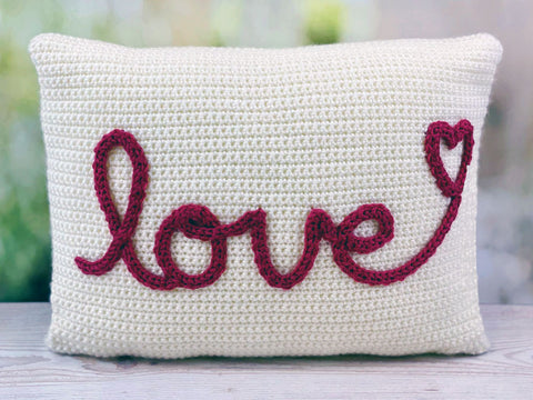 With Love Cushion Crochet Kit and Pattern in Deramores Yarn