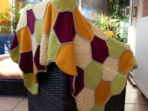 Patched Hexagon Blanket by What Katie Knits in Deramores Studio DK